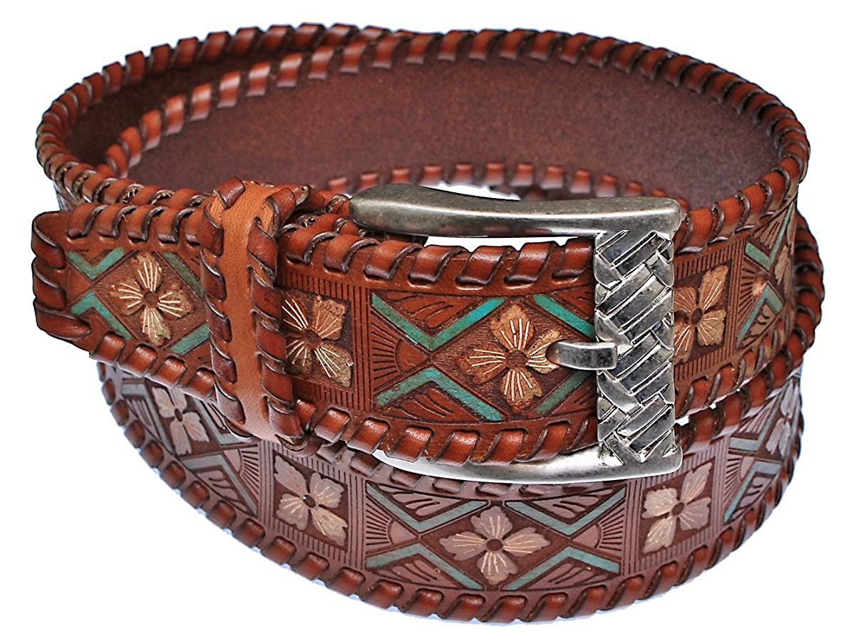 38 Italy Mens Tooled /& Painted Brown Leather Western Belt Cambi /& Co
