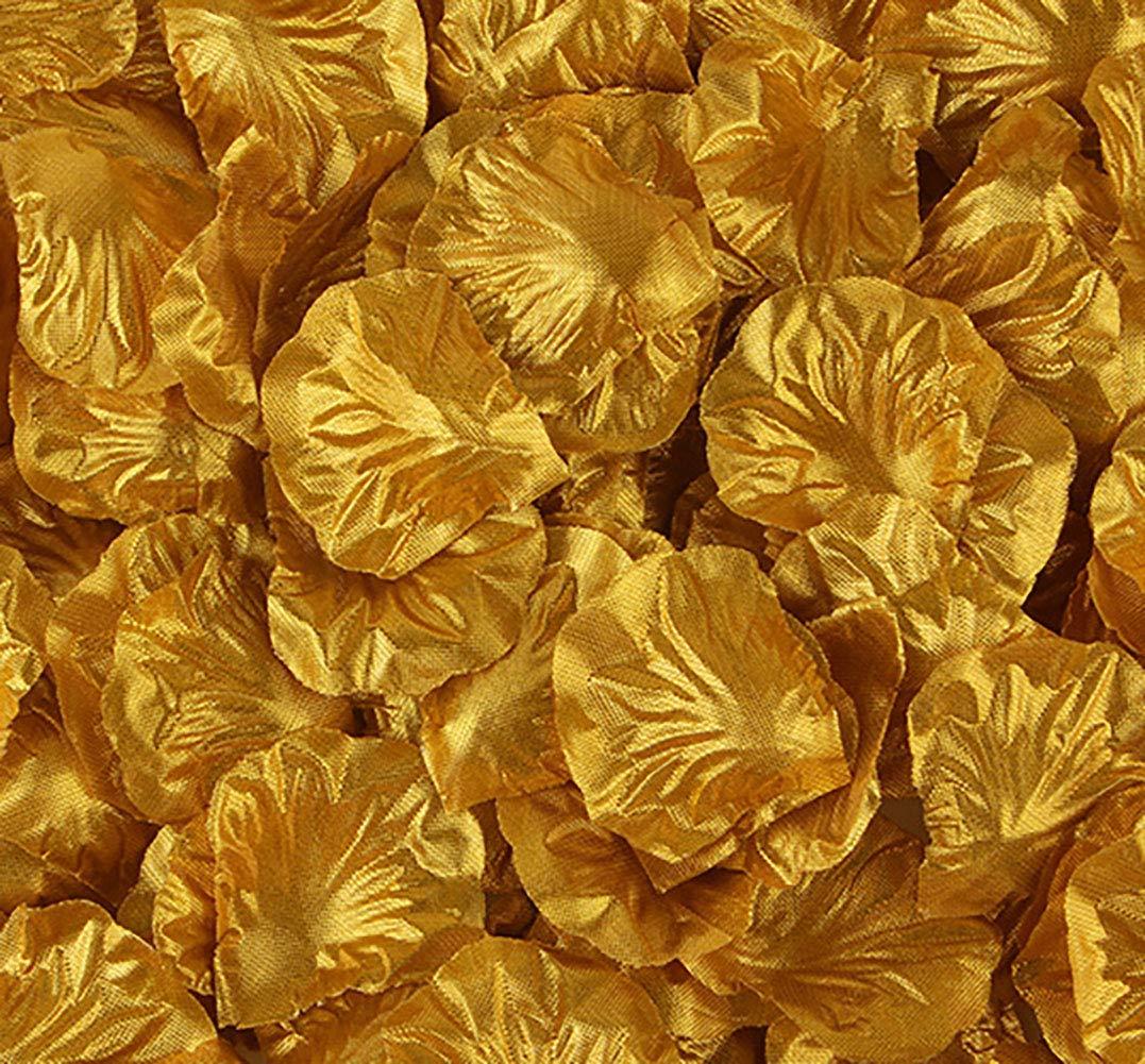 KALOR シルク人工繊維フラワーバラの花びら 2000個 結婚式 コンフェッティ フラワー ガール ブライダルシャワー ホテル ホームパーティー バレンタインデー フラワーデコレーション ゴールド B07H7M1B12 ゴールド