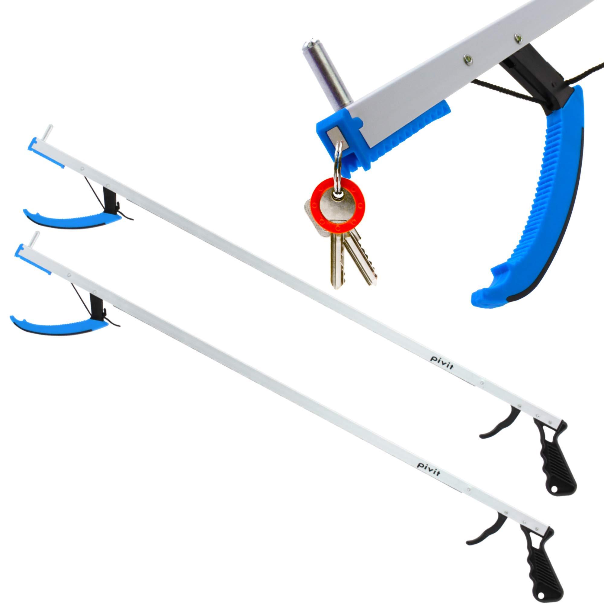 Pivit Claw Reacher Grabber | 32'' 2-Pack | Long Reach Mobility Aid | Heavy Duty Reaching Assist Tool, Fishing, Trash Garbage Picker, Garden Nabber | Magnetic Tip Elderly Pick Up Extender Arm (Blue)
