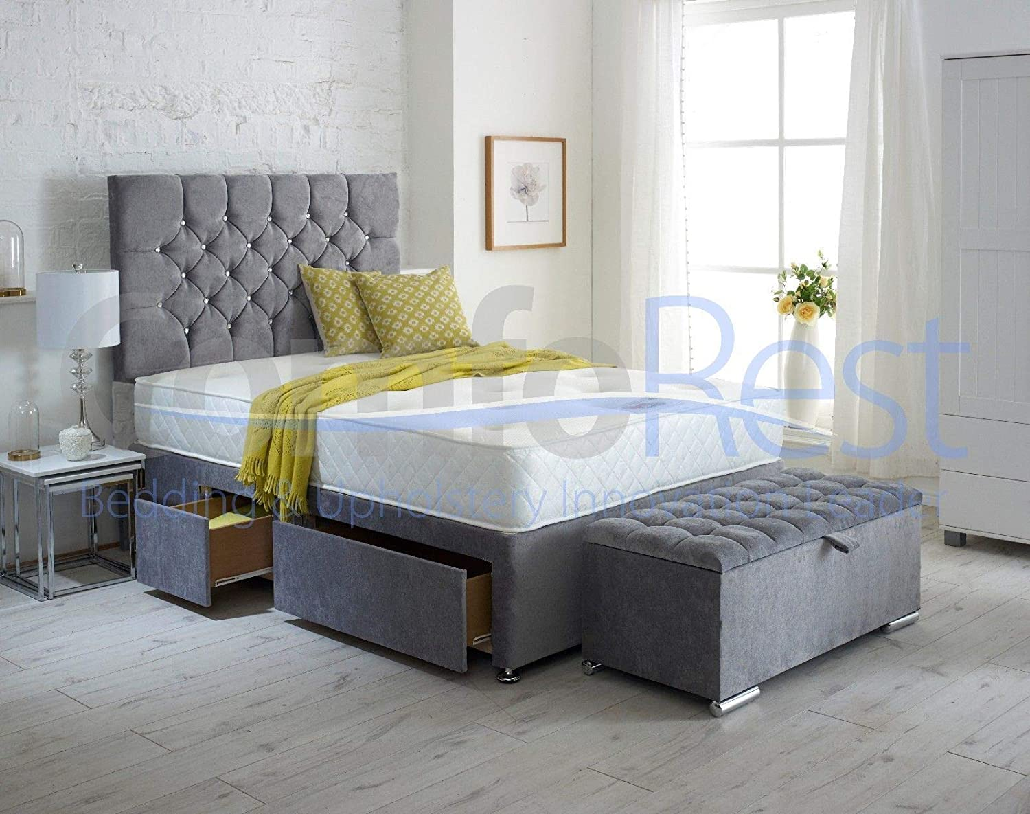 ComfoRest, Bedding & Upholstery Innovation Leader Complete Divan Bed Set (Divan Base + Mattress + Headboard (NO Drawers)) With Ottoman Box (6FT Superking, Silver Naples)