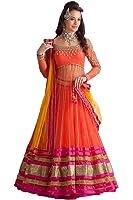 Sky Global Women's Embroidered Georgette Multi Color Lehenga Choli (Lehnga_127_Free Size_MultiColor)