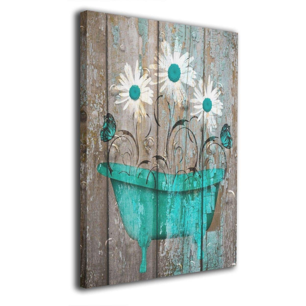 "Okoart Canvas Wall Art Prints Teal White Rustic Flower Bathtub Farmhouse Bathroom Powder Room -Picture Paintings Modern Decorative Giclee Artwork Wall Decor-Wood Frame Gallery Stretched 16""x20"""