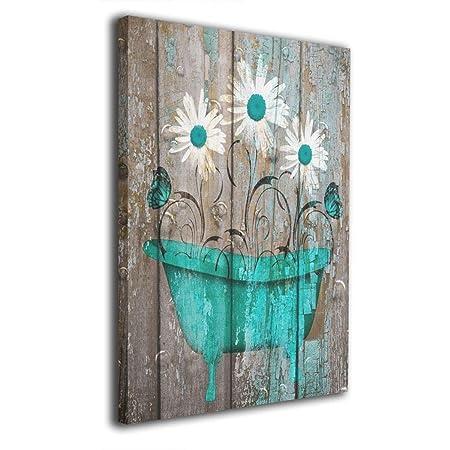 Okoart Canvas Wall Art Prints Teal White Rustic Flower Bathtub Farmhouse Bathroom Powder Room -Picture Paintings Modern Decorative Giclee Artwork Wall Decor-Wood Frame Gallery Stretched 16 x20