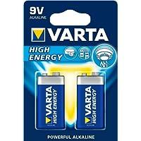Varta High Energy Batteria Alcalina, 9V Transistor 6LR61 Eblock, Confezione da 2 Pile