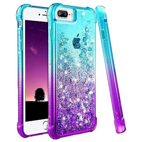 nuevo estilo elige el más nuevo Moda wlooo Funda para iPhone 8 Plus, Fundas iPhone 7 Plus, Glitter liquida  Gradiente Silicona TPU Bumper Case Brillante Arena movediza Carcasa para  iPhone ...