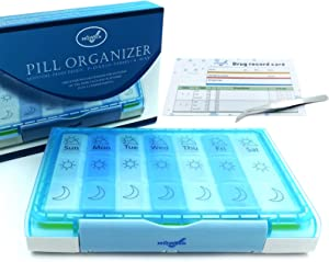 HOWSEN Pill Organizer Moisture-Proof Design BPA Free Weekly Pill Case Pill case 3 Times a Day Large Capacity Food Grade Materials