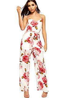 b6a5a542db3 WearAll Women s Sleeveless Strappy Jumpsuit Ladies Floral Print Trousers  Side Slit ...