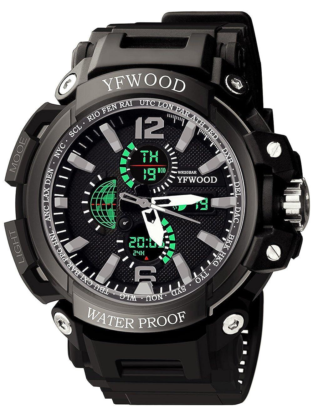 YFWWOOD Reloj de pulsera para hombre, resistente al agua, movimiento japonés, digital, para exteriores, multifuncional, con movimiento impermeable, correa ...