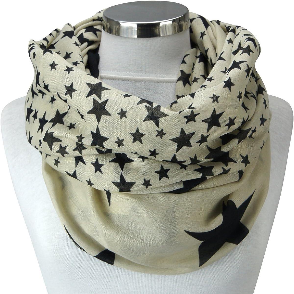 PiriModa XXL Damen Sterne Schal Leichter Schlauchschal Viele Farben
