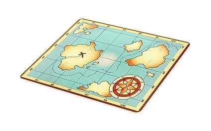 Amazon com: Ambesonne Island Map Cutting Board, Ancient