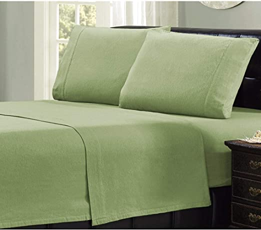 Amazon Com Mellanni 100 Cotton Flannel Sheet Set Lightweight 3 Pc Luxury Bed Sheets Cozy Soft Warm Breathable Bedding Deep Pockets All Around Elastic Twin Xl Sage Home Kitchen