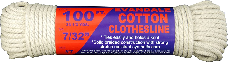 T.W Evans Cordage 43-070 7/32-Inch Evandale Cotton Clothesline 100 Hank