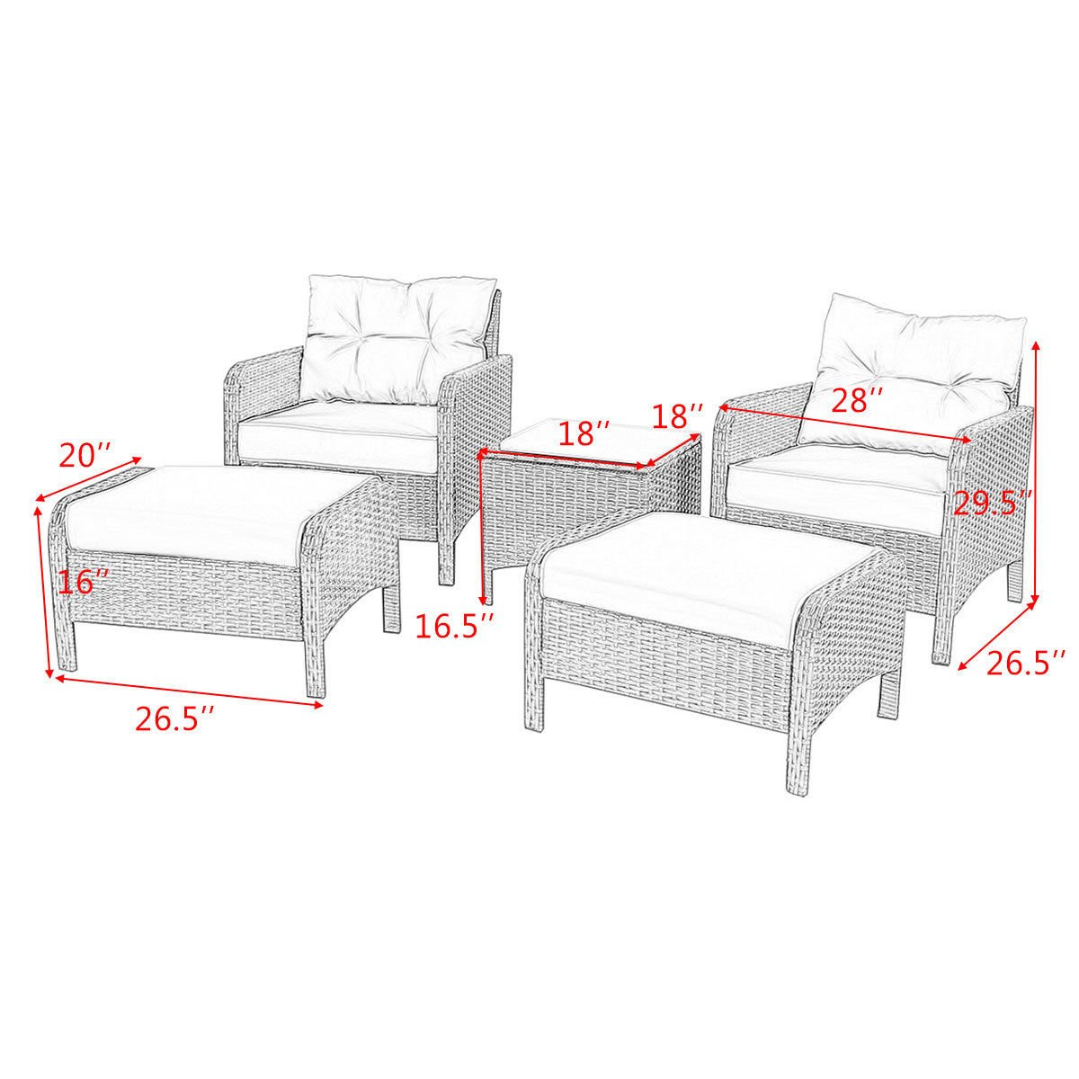 Tangkula Wicker Furniture Set 5 Pieces PE Wicker Rattan Outdoor All Weather Cushioned Sofas and Ottoman Set Lawn Pool Balcony Conversation Set Chat Set by Tangkula (Image #3)
