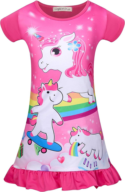 Unicorn Girls Nightgowns Toddler Princess Sleepwear Pajamas Nightdress Nightie for Kids Girls 3-8Y