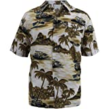 Evrimas Mens Hawaiian Shirt Short Sleeve Palm Tree Print Beach Aloha Party Holiday Casual Button Down Tops