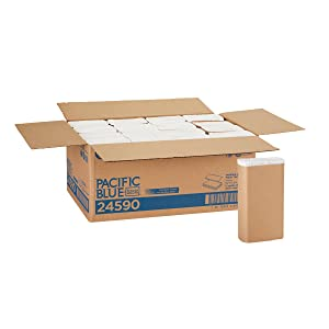 """Pacific Blue Basic Recycled Multifold Paper Towels (Previously branded Envision) by GP PRO (Georgia-Pacific), White, 24590, 250 Towels Per Pack, 16 Packs Per Case (4000 Total), 9.20"""" x 9.40"""""""