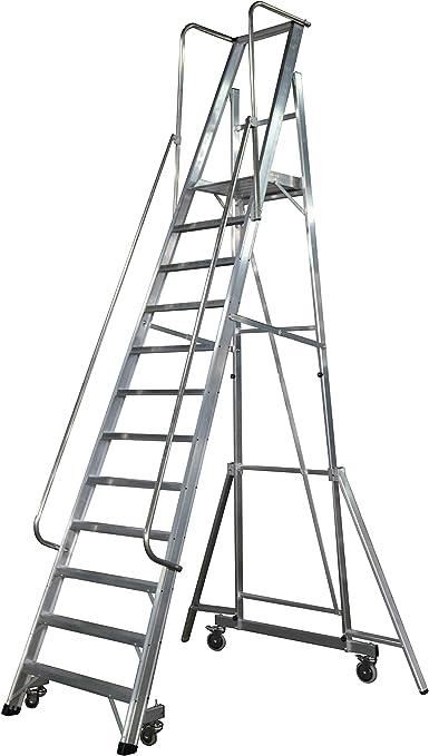 KTL Escalera Plegable con Plataforma y guardacuerpos 12 peldaños móvil Profesional Serie 2XL-S: Amazon.es: Hogar