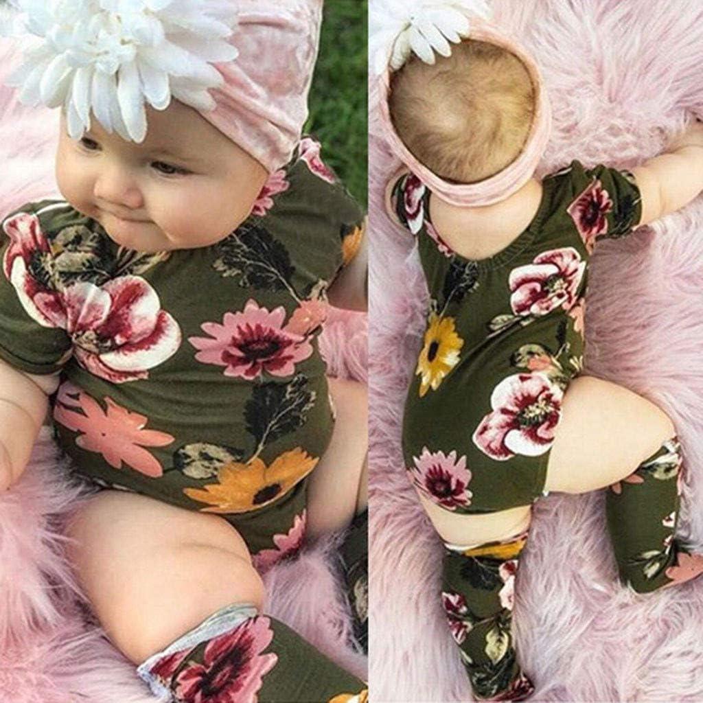 Leg Warmers Womola 2pcs//Set Newborn Infant Baby Girl Flower Print Outfit Short Sleeve Romper