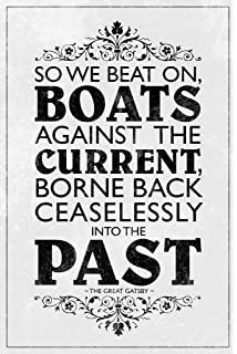 the great gatsby book black and white. the great gatsby so we beat on boats against current white poster 12x18 book black and