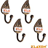 Klaxon Brass Wall Hanger Hook Set (Gold, Pack of 4)