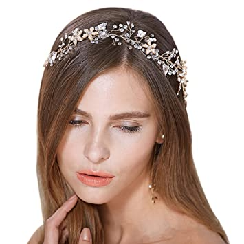 Amazon.com : FAYBOX Bridal Vintage Crystal Pearl Hairbands Wedding Hair Accessories (Gold-tone) : Beauty