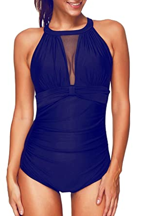 2901b2f7cf0 Tempt Me Women One Piece Tummy Control Swimsuit High Neck Mesh Ruched Plus  Size Swimwear Swimming