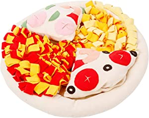 snow keychain Pet Snuffle Mat for Dogs Nosework Feeding Mat Nosework Blanket 2 in 1 Dog Bed Mat Durable Puzzle Toys,Machine Washable Pizza Shape(20x20in)…