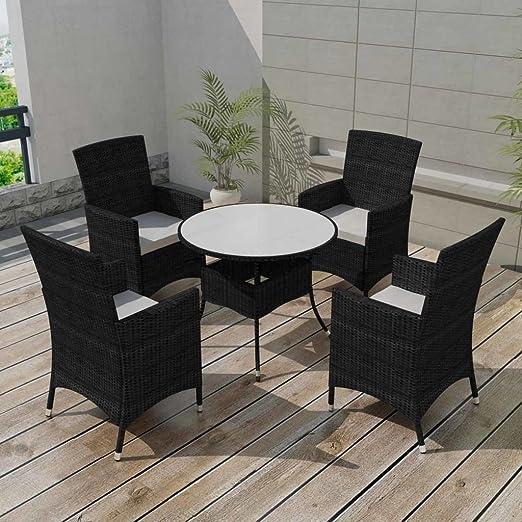 Festnight Muebles de Jardín de 9 Piezas Conjunto de Comedor de Madera Negro: Amazon.es: Hogar