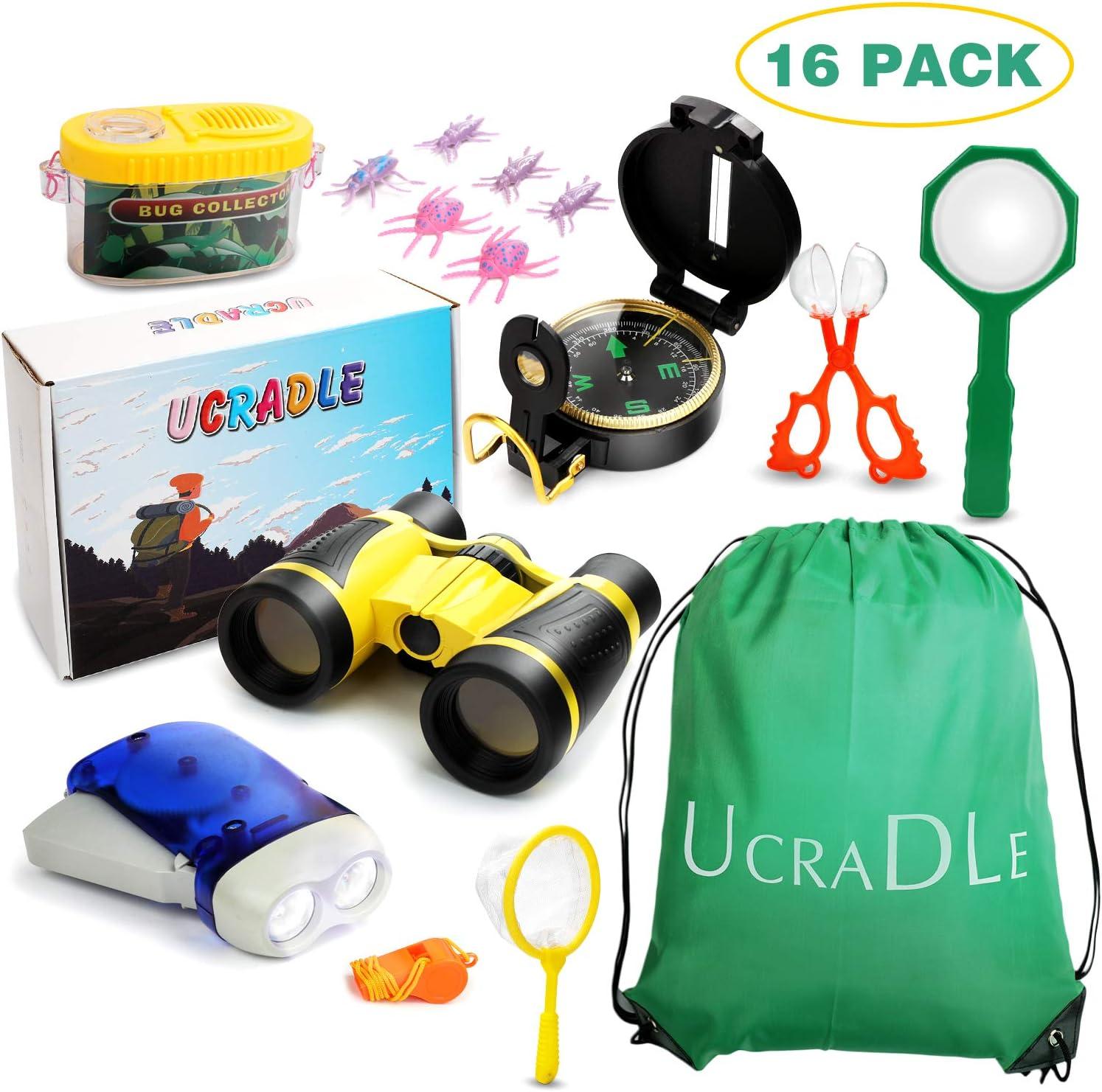 Ucradle Outdoor Explorer Kit, 15Pcs Adventure Explorer Set para niños niños con Brújula Binocular Linterna Lupa, Obsequio de Aventura y Exploración Juguetes Divertidos para 3-12 niños y niñas: Amazon.es: Juguetes y juegos