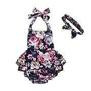 Mikrdoo Baby Girl Romper Solid Ruffled Strap Jumpsuit Summer Sleeveless Halter Bodysuit Onesie for Toddler Infant Girl (0-6 Months, B)