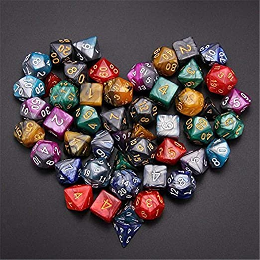 49x Polyhedral Dice Die Double-Color for Dungeons /& Dragons RPG Table Games