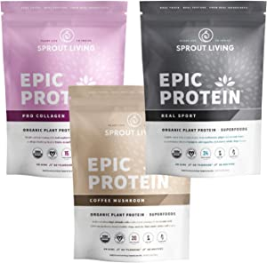 Premium Adaptogen Bundle (Epic Protein Pro Collagen, Coffee Mushroom & Real Sport)   Functional Superfood Blends