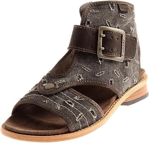 Wolky Bequeme Sandale mit Schaft Schaftsandale Canvas Leder