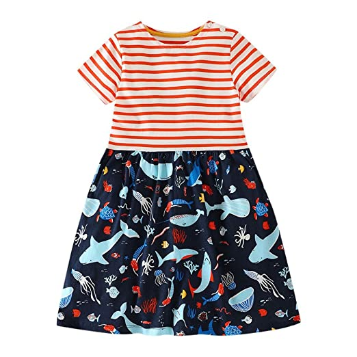 a1e0d47eea Amazon.com: Winsummer Little Girls Dress Cartoon Kids Summer Whale ...