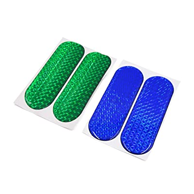 uxcell 4Pcs Blue Green Reflective Safety Warning CarSelf-adhesive Reflector Sticker: Automotive