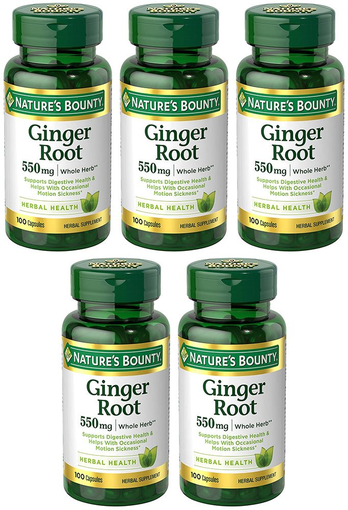 Ginger Root 550 mg, 5 Bottles (100 Capsules)