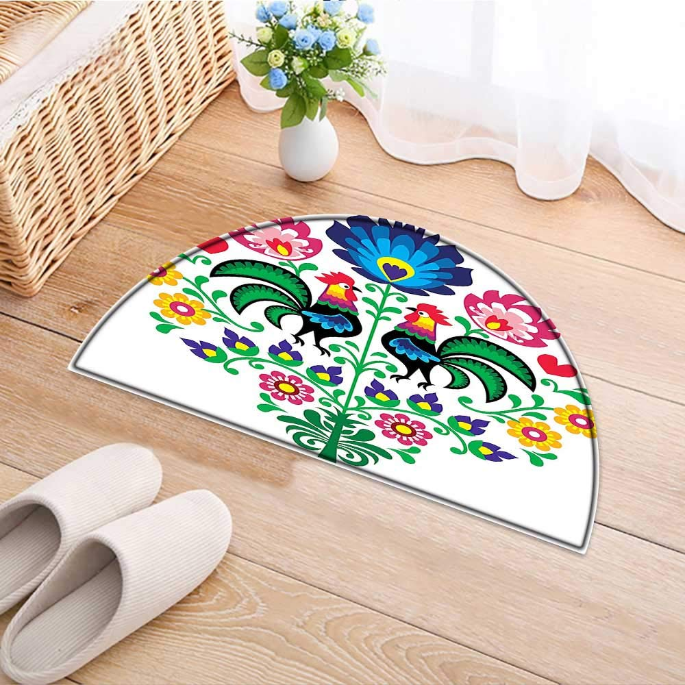 Kitchen Rugs Floor mats Polish Embroidery with Roosters Garden Happy Fashion Celebration Spring Slav Poland Image Waterproof Semi-Circular Door Mat Floor Mats W59 x H35 INCH