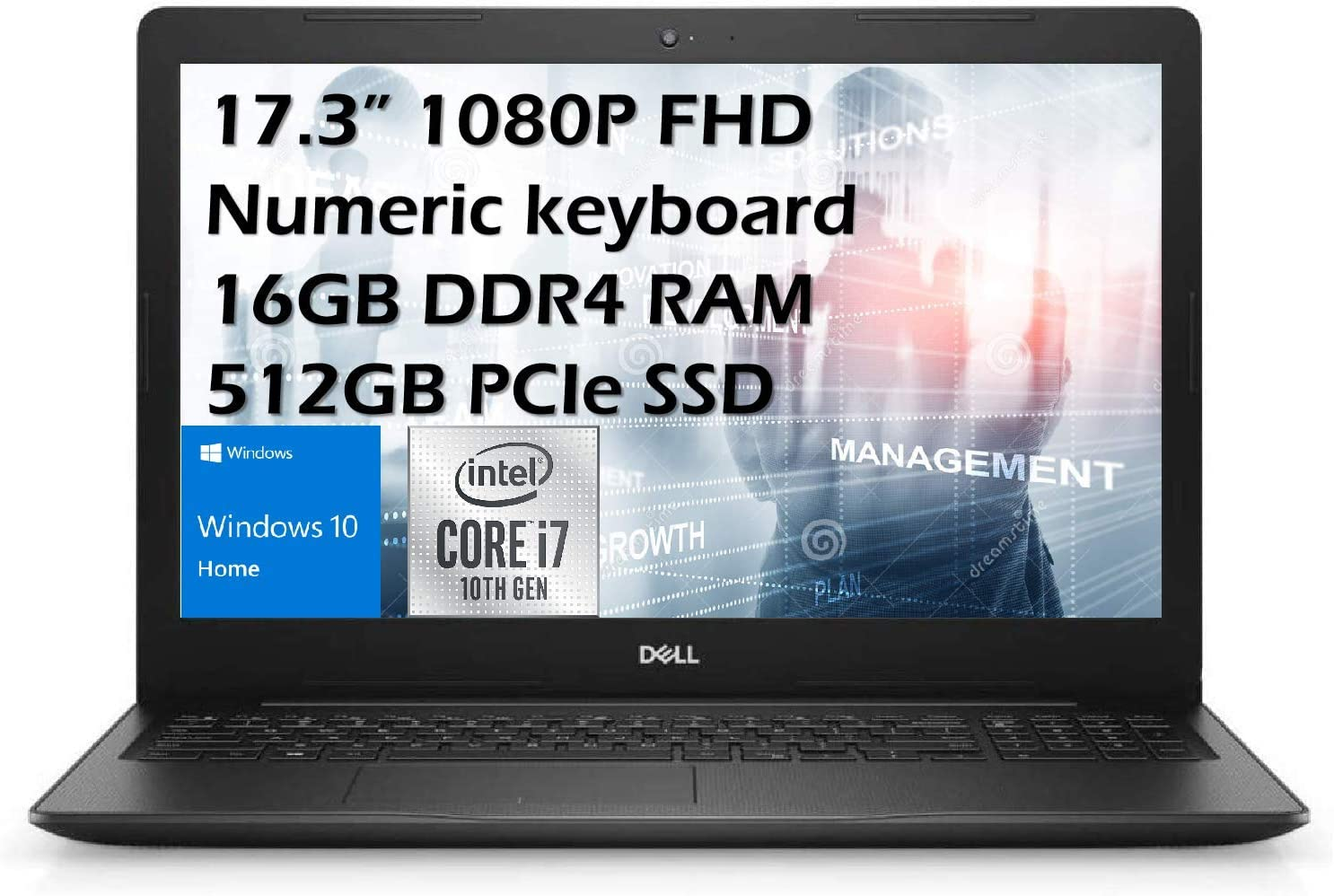 Dell 2020 Inspiron 17.3'' FHD Business Laptop, Intel i7-1065G7, 16GB DDR4 Memory, 512GB PCIe Solid State Drive, HDMI, WiFi, Webcam, DVD Drive, Win 10 Pro with E.S 32GB USB Card
