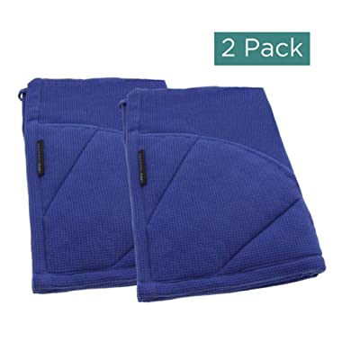 Rachael Ray Kitchen Towel, Oven Glove Moppine - 2-in-1 Ultra Absorbent Kitchen Towels with Heat Resistant Padded Pockets Like Pot Holders and Oven Mitts to Handle Hot Cookware - Blue, 2 Pack