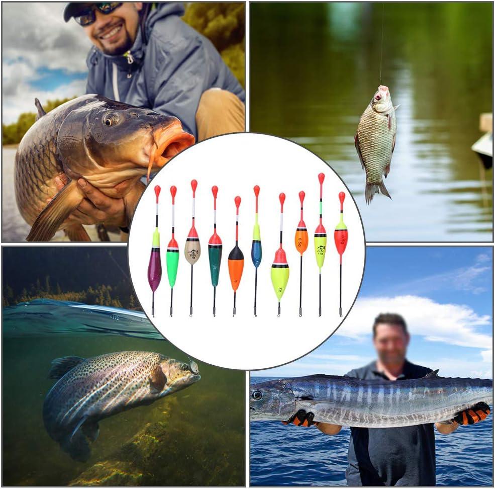 10 Piezas de Flotador de Pesca Conjunto de Forma Ovalada Port/átil Flotadores de Pesca y Bobbers Conjunto de Madera