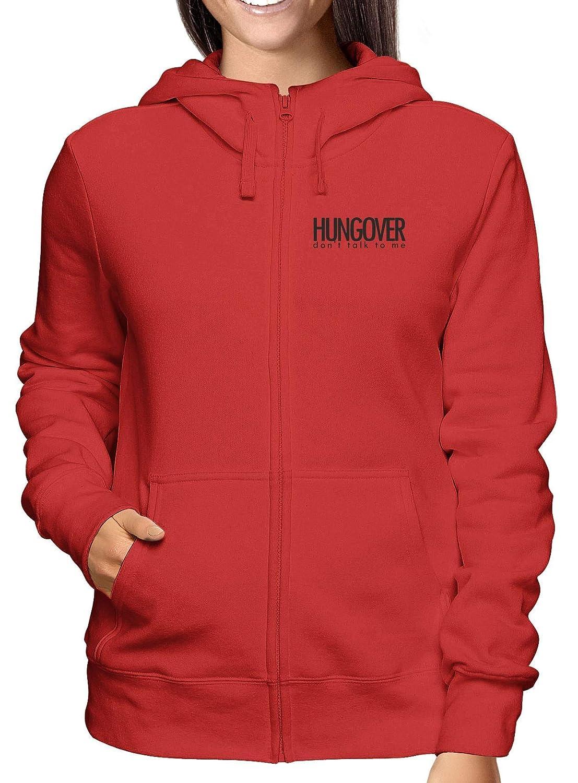 Sweatshirt Damen Hoodie Zip Rot BEER0072 Hungover