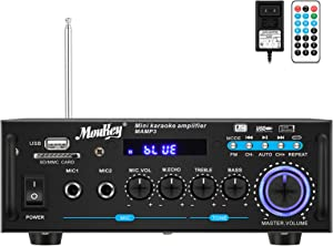 Moukey Bluetooth Home Audio Power Amplifier - Portable 2 Channel Sound Audio Stereo Desktop Amp Receiver with FM Radio, MP3/USB/SD Readers, Digital LED Display, Mic Input (Peak Power 100 Watt), Black