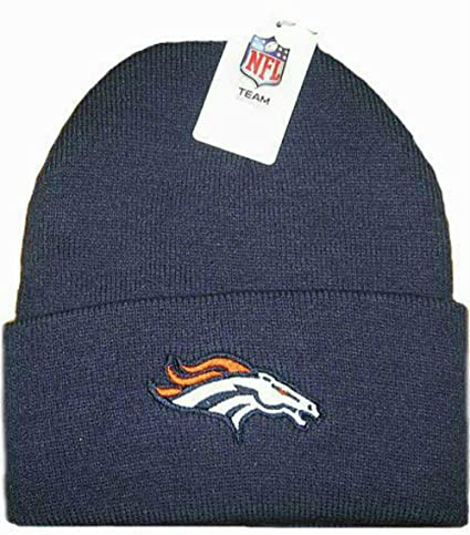 quality design d606b dbf1b Image Unavailable. Image not available for. Color  Denver Broncos Navy Cuff  Knit Beanie ...