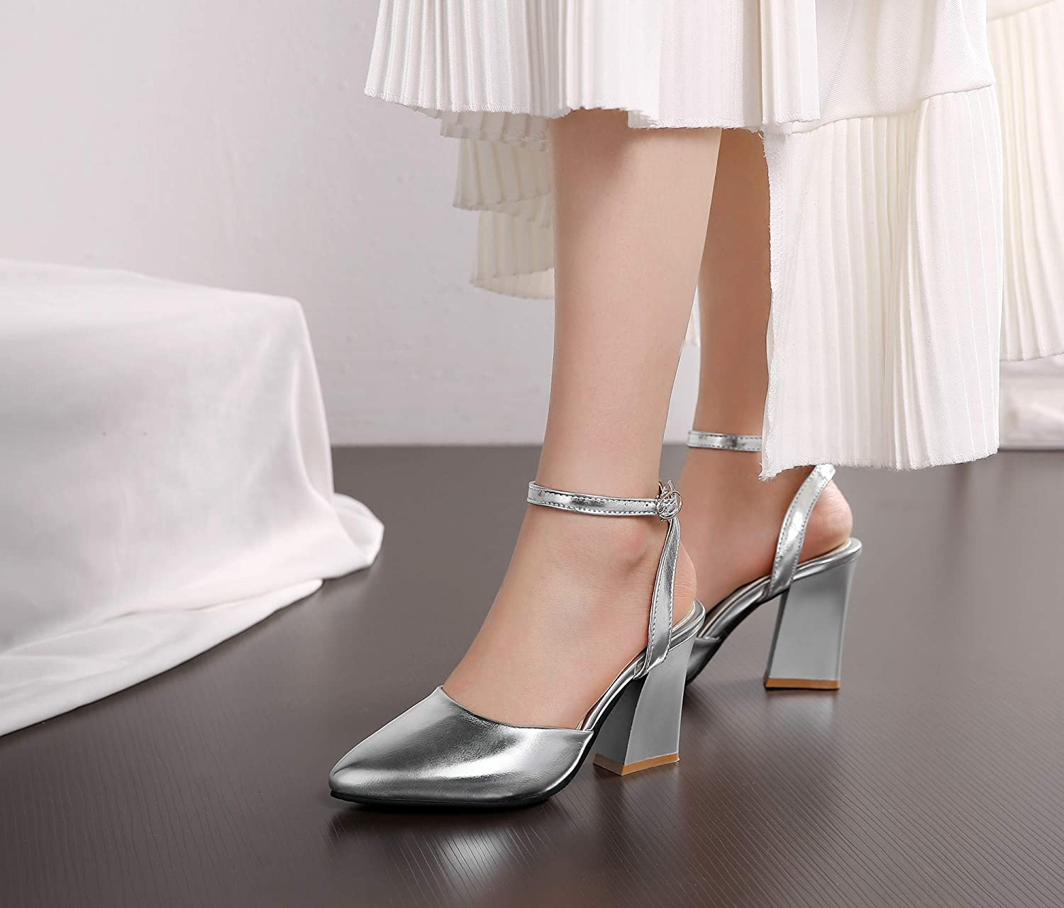 Drizzlein Classic Chunky High Heels for Women Pointed Toe Slingback Ankle Strap Buckled Sandals Glossy Shoes Summer Formal Dating