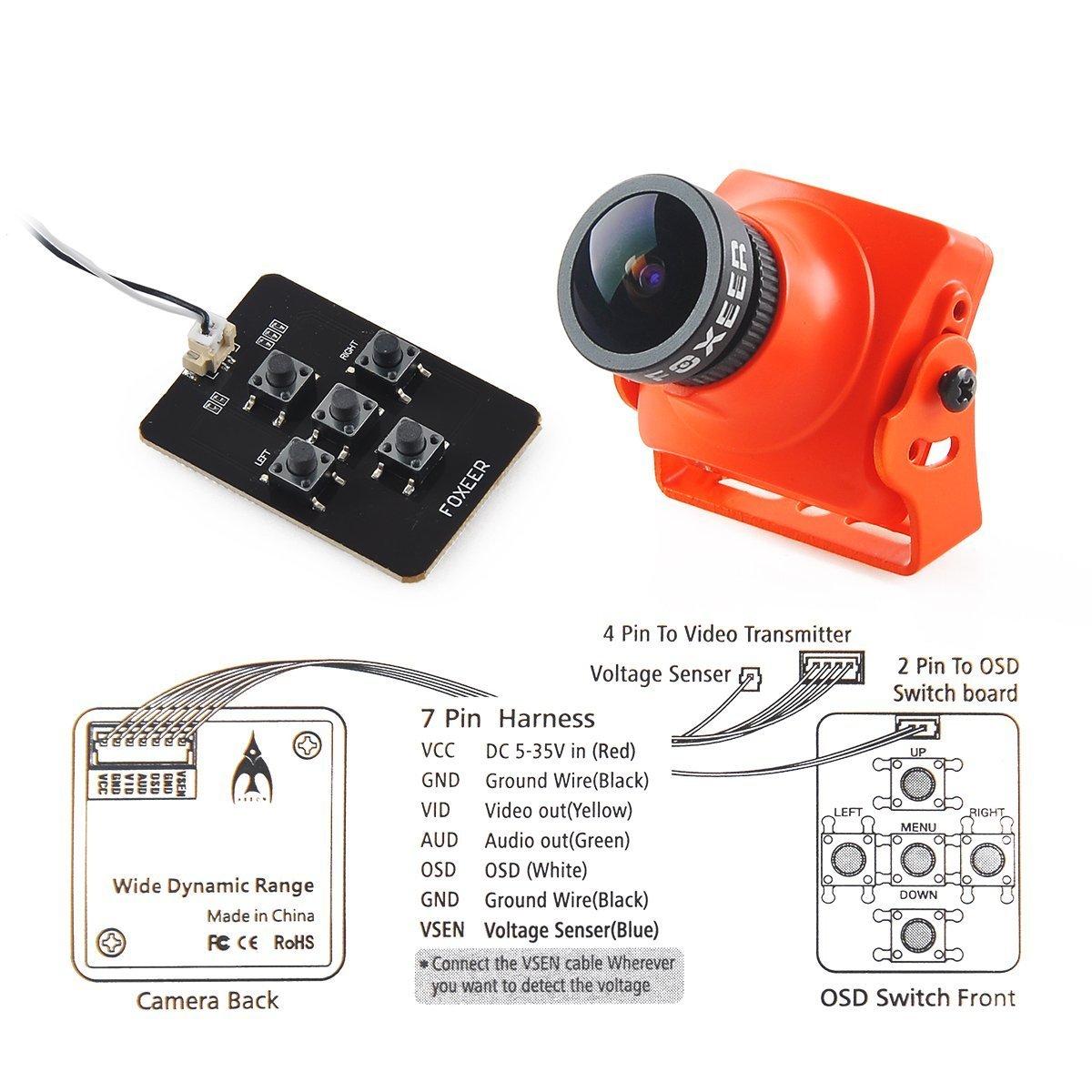 Amazon.com: Thriverline Foxeer Arrow V3 FPV Camera 600TVL CCD NTSC ...