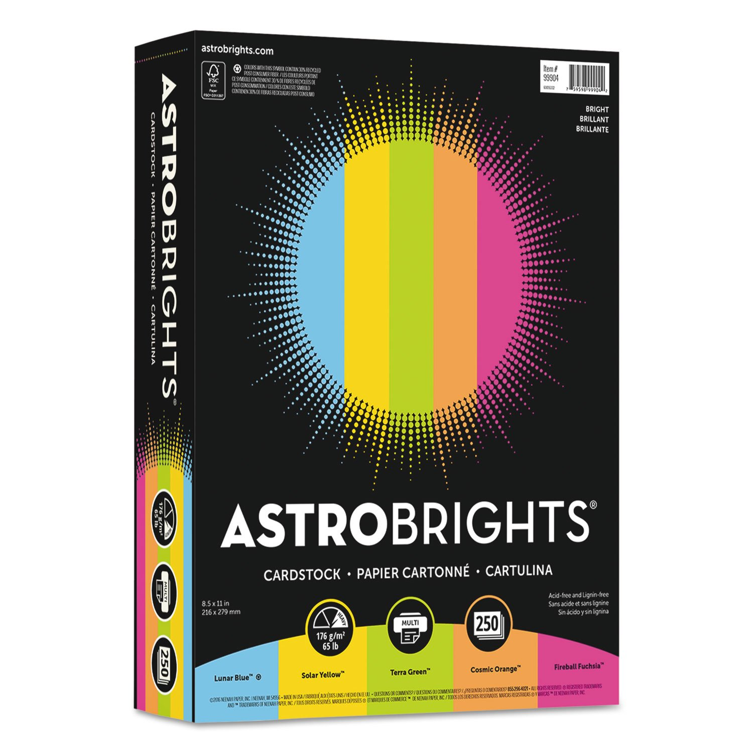 Astrobrights 99904 Color Cardstock -Inch Bright-Inch Assortment, 8 1/2 x 11, 5 Colors, 65lb, 250 Sheets