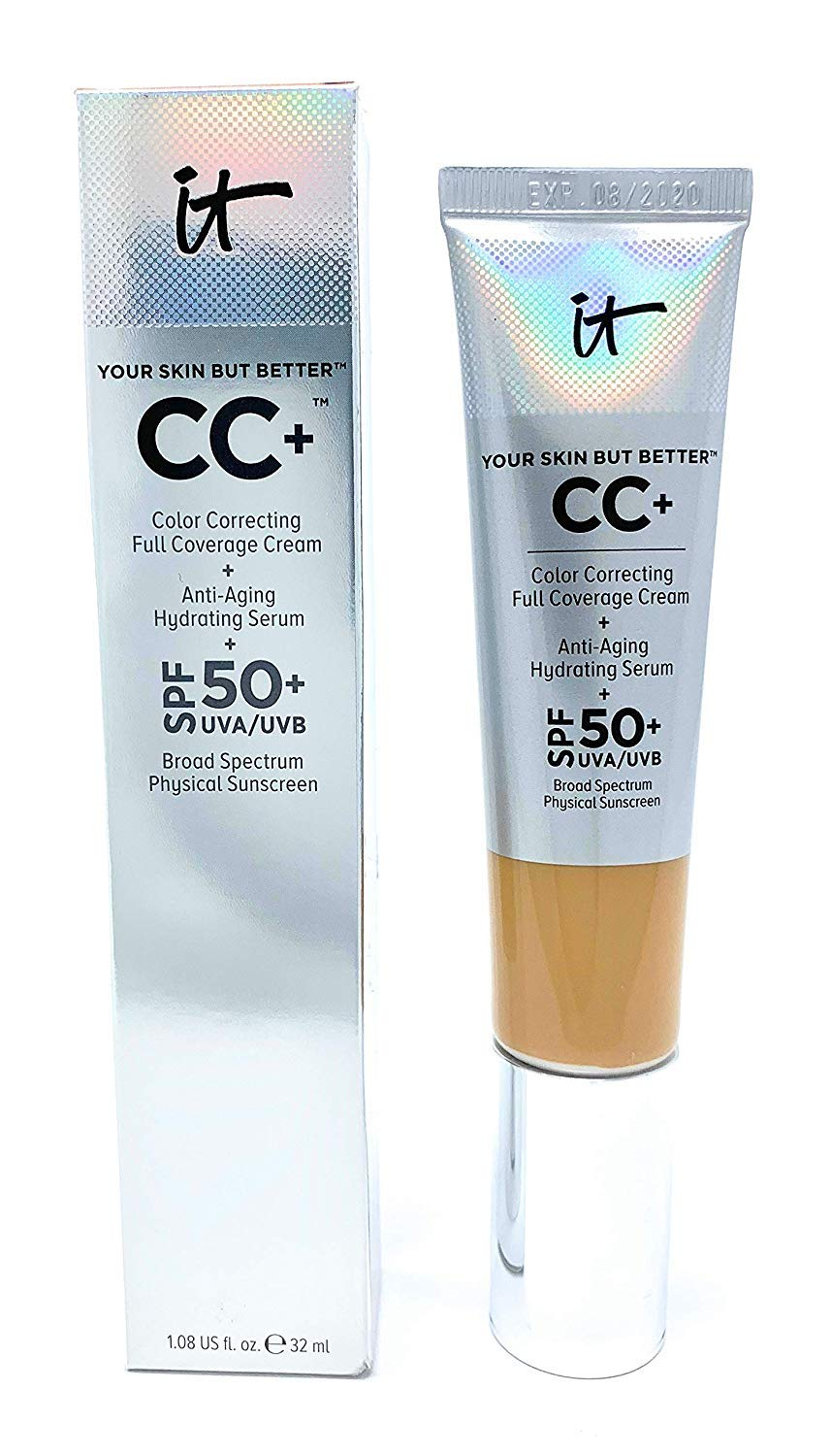 It Cosmetics CC+ Cream SPF 50 (Neutral Tan) Full Coverage, 1.08 Ounces