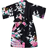 Girls' Satin Kimono Robe - Peacock and Blossoms Bathrobes Dressing Gown for Spa Wedding Birthday
