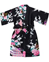 FAYBOX BRIDAL Girls' Satin Kimono Robe - Peacock and Blossoms Bathrobes Dressing Gown For Spa Wedding Birthday Ages 2-12