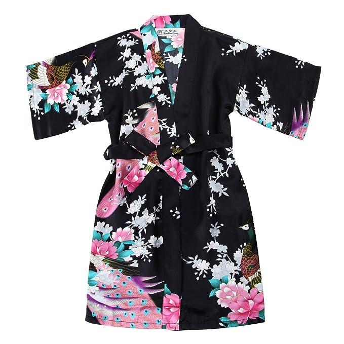 f39c2d4b71882 Girls  Satin Kimono Robe - Peacock and Blossoms Bathrobes Dressing ...
